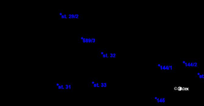 Parcela st. 32 v k.ú. Nové Sady u Olomouce, Katastrální mapa