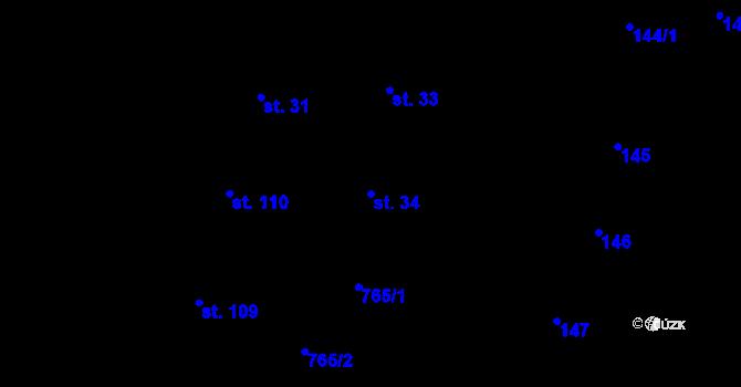 Parcela st. 34 v k.ú. Nové Sady u Olomouce, Katastrální mapa