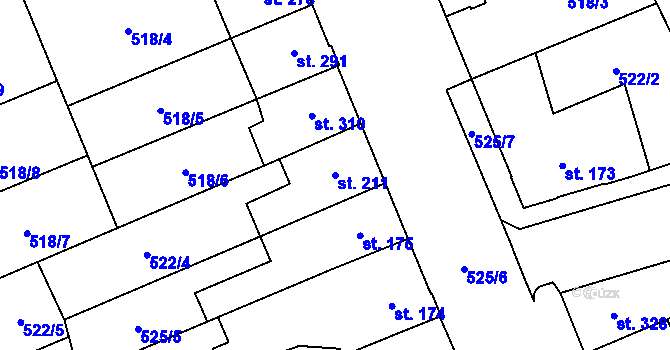 Parcela st. 211 v k.ú. Nové Sady u Olomouce, Katastrální mapa