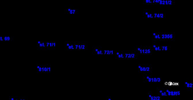 Parcela st. 72/1 v k.ú. Hodolany, Katastrální mapa