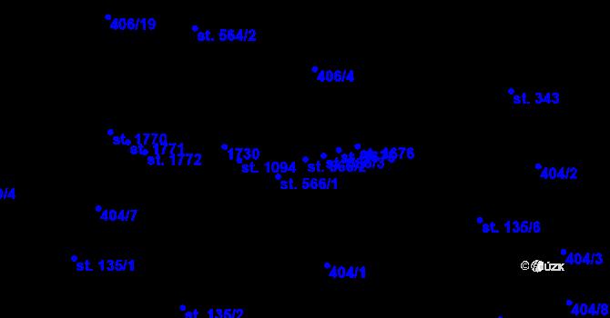 Parcela st. 566/2 v k.ú. Hodolany, Katastrální mapa