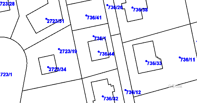 Parcela st. 736/44 v k.ú. Kylešovice, Katastrální mapa