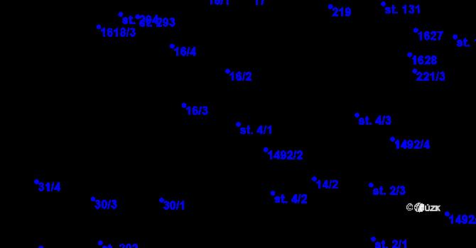 Parcela st. 4/1 v k.ú. Lázně Kundratice, Katastrální mapa