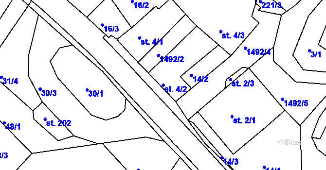 Parcela st. 4/2 v k.ú. Lázně Kundratice, Katastrální mapa