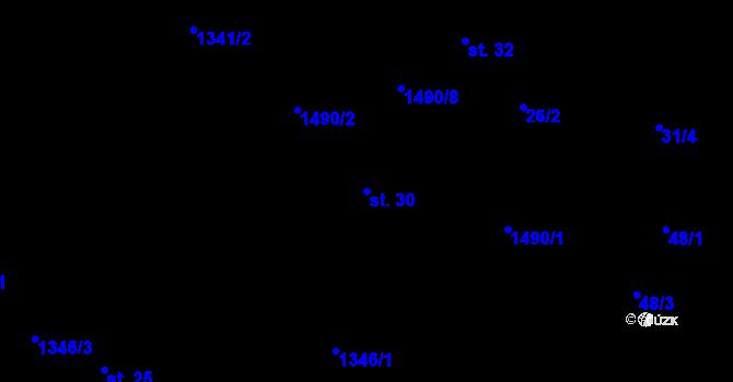 Parcela st. 30 v k.ú. Lázně Kundratice, Katastrální mapa
