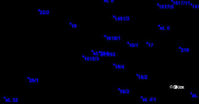 Parcela st. 293 v k.ú. Lázně Kundratice, Katastrální mapa