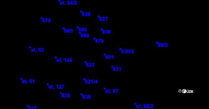 Parcela st. 691 v k.ú. Kotouň, Katastrální mapa