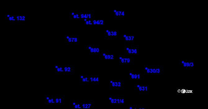 Parcela st. 692 v k.ú. Kotouň, Katastrální mapa