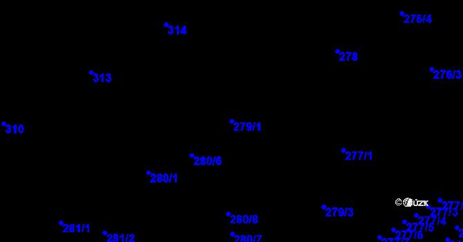 Parcela st. 279/1 v k.ú. Vítkovice, Katastrální mapa