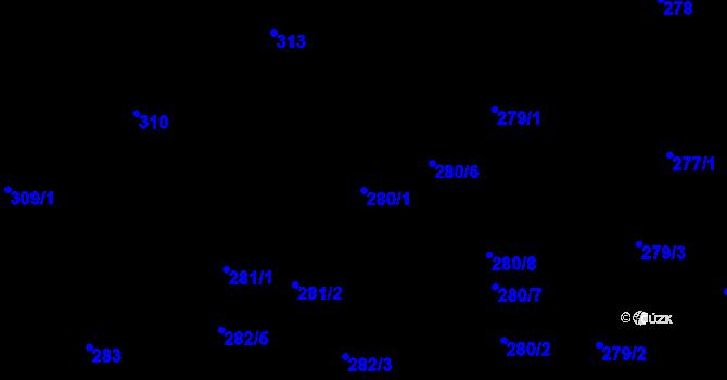 Parcela st. 280/1 v k.ú. Vítkovice, Katastrální mapa