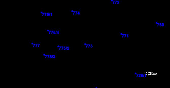 Parcela st. 773 v k.ú. Vítkovice, Katastrální mapa