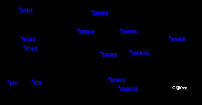 Parcela st. 2068/2 v k.ú. Hrabová, Katastrální mapa