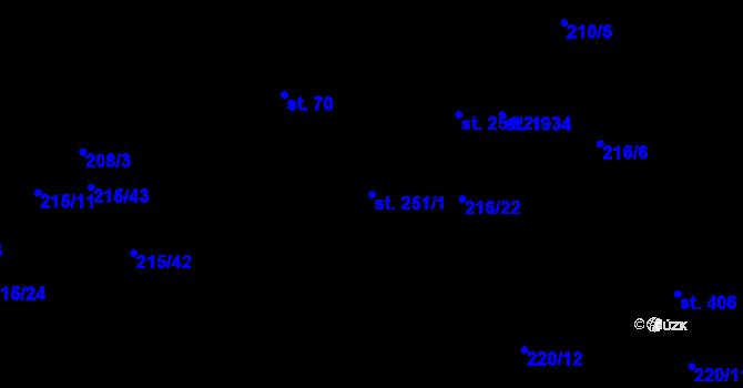 Parcela st. 251/1 v k.ú. Hrabůvka, Katastrální mapa