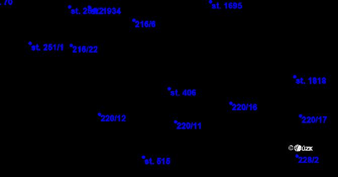Parcela st. 406 v k.ú. Hrabůvka, Katastrální mapa