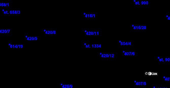 Parcela st. 1334 v k.ú. Michálkovice, Katastrální mapa