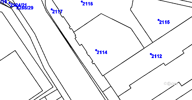 Parcela st. 2114 v k.ú. Radvanice, Katastrální mapa