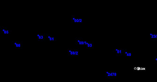 Parcela st. 59/1 v k.ú. Poruba, Katastrální mapa