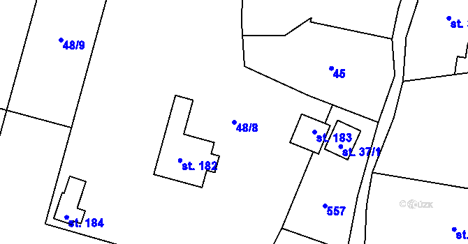 Parcela st. 48/8 v k.ú. Horní Ostrovec, Katastrální mapa