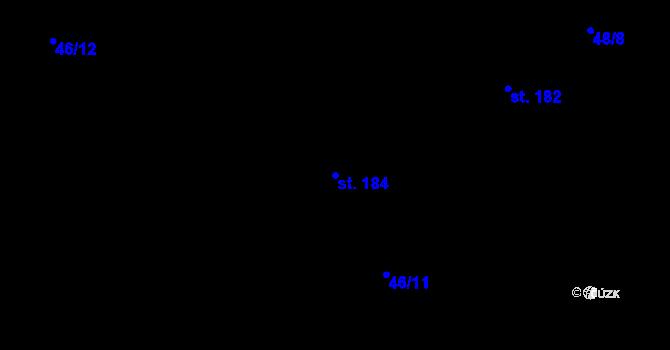 Parcela st. 184 v k.ú. Horní Ostrovec, Katastrální mapa