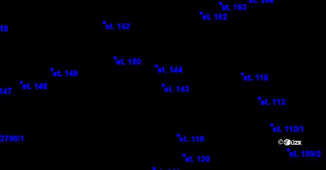 Parcela st. 143 v k.ú. Pardubice, Katastrální mapa