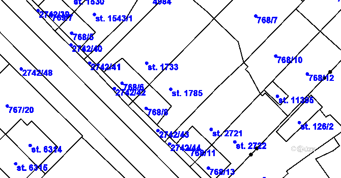Parcela st. 1785 v k.ú. Pardubice, Katastrální mapa