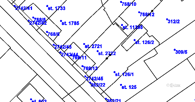 Parcela st. 2722 v k.ú. Pardubice, Katastrální mapa