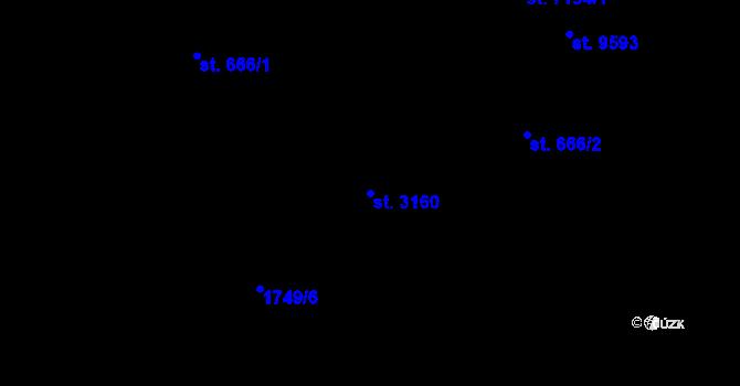 Parcela st. 3160 v k.ú. Pardubice, Katastrální mapa