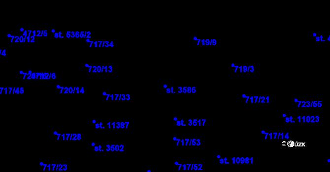 Parcela st. 3586 v k.ú. Pardubice, Katastrální mapa