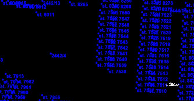 Parcela st. 7558 v k.ú. Pardubice, Katastrální mapa