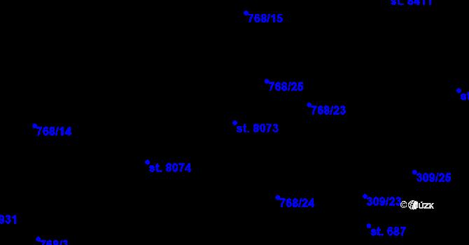 Parcela st. 8073 v k.ú. Pardubice, Katastrální mapa