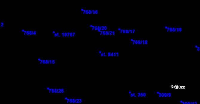 Parcela st. 8411 v k.ú. Pardubice, Katastrální mapa