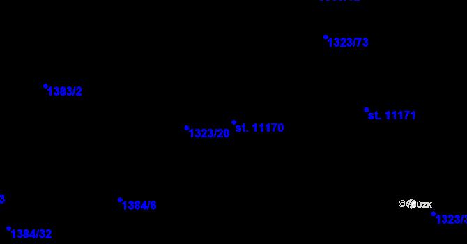 Parcela st. 11170 v k.ú. Pardubice, Katastrální mapa