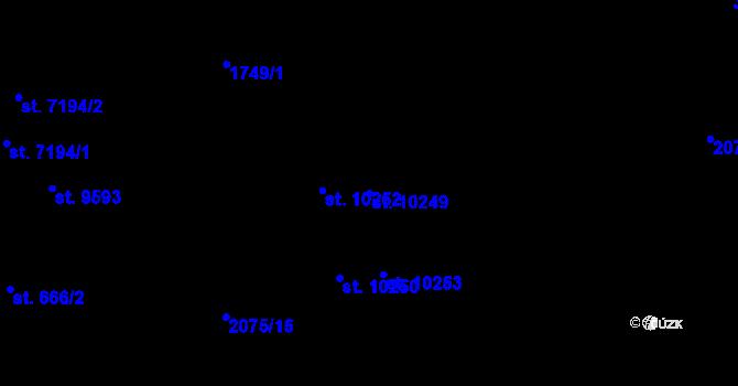 Parcela st. 10249 v k.ú. Pardubice, Katastrální mapa