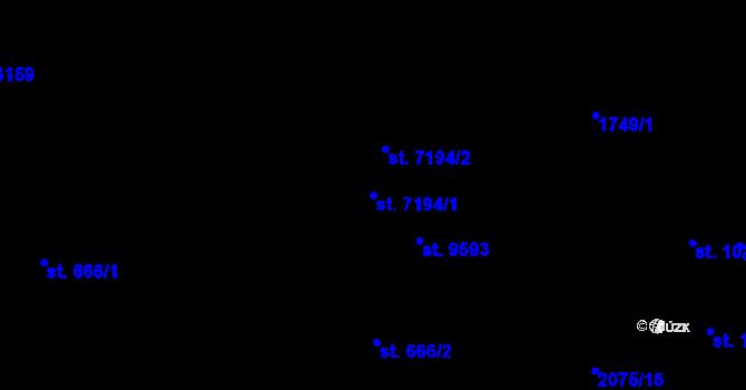 Parcela st. 7194/1 v k.ú. Pardubice, Katastrální mapa