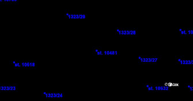 Parcela st. 10481 v k.ú. Pardubice, Katastrální mapa
