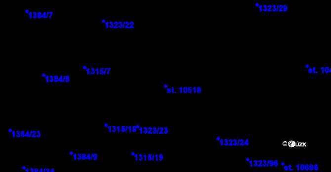 Parcela st. 10518 v k.ú. Pardubice, Katastrální mapa