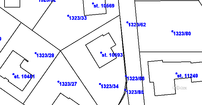 Parcela st. 10593 v k.ú. Pardubice, Katastrální mapa