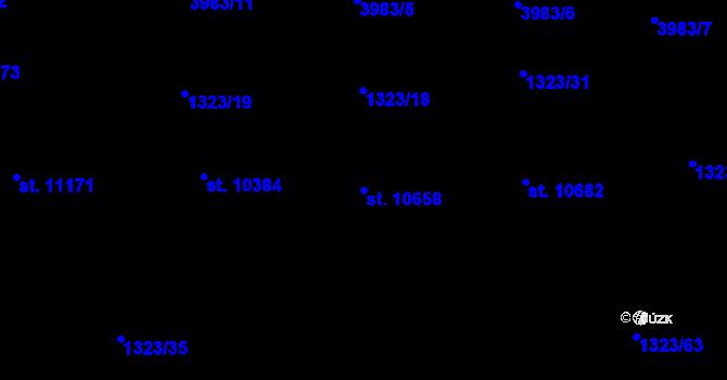 Parcela st. 10658 v k.ú. Pardubice, Katastrální mapa
