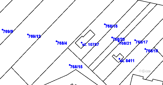 Parcela st. 10787 v k.ú. Pardubice, Katastrální mapa