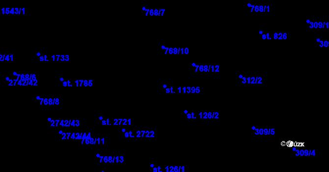 Parcela st. 11395 v k.ú. Pardubice, Katastrální mapa