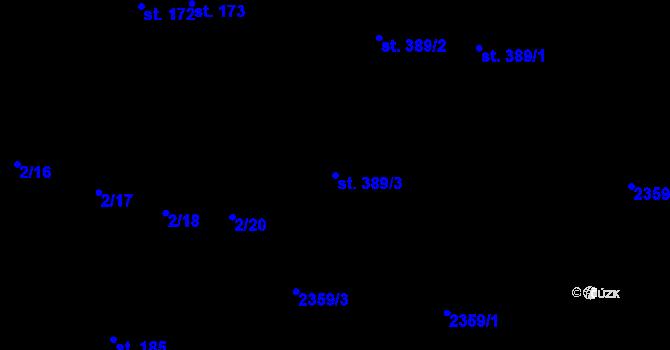 Parcela st. 389/3 v k.ú. Pardubice, Katastrální mapa