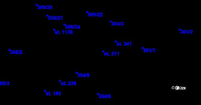 Parcela st. 211 v k.ú. Studánka, Katastrální mapa