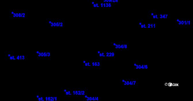 Parcela st. 229 v k.ú. Studánka, Katastrální mapa