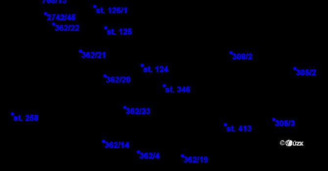 Parcela st. 346 v k.ú. Studánka, Katastrální mapa