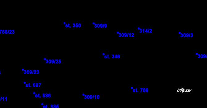 Parcela st. 349 v k.ú. Studánka, Katastrální mapa