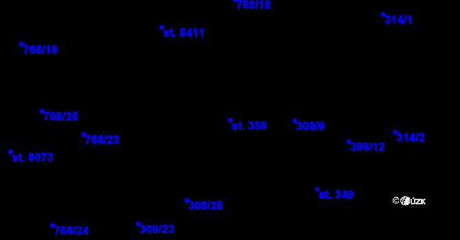 Parcela st. 350 v k.ú. Studánka, Katastrální mapa