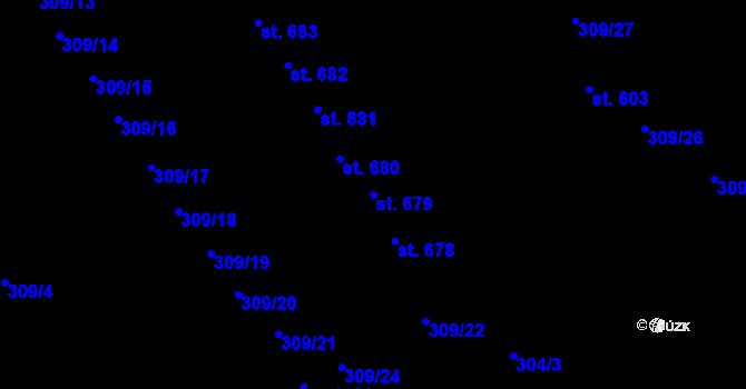 Parcela st. 679 v k.ú. Studánka, Katastrální mapa