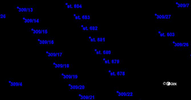Parcela st. 680 v k.ú. Studánka, Katastrální mapa