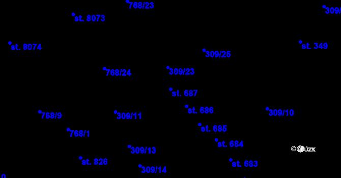 Parcela st. 687 v k.ú. Studánka, Katastrální mapa
