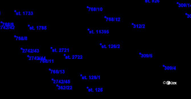 Parcela st. 126/2 v k.ú. Studánka, Katastrální mapa